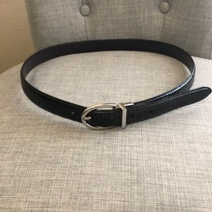 Black faux croc belt